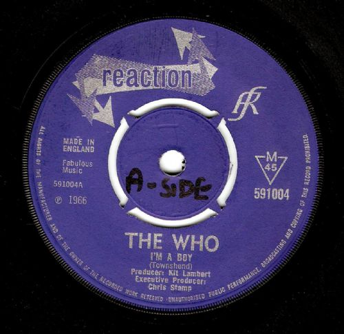 THE WHO I'm A Boy Vinyl Record 7 Inch Reaction 1966